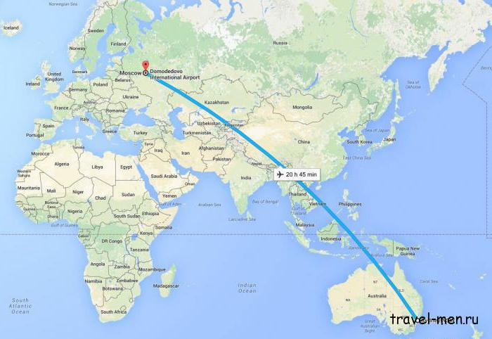 Сколько лететь из Москвы до Австралии