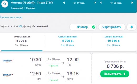 Аэрофлот: в Черногорию из Москвы